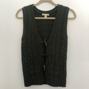 Olive Cable Knit Sweater Vest